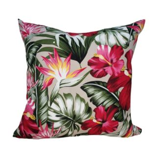 Beige Hibiscus Feather Inner Scatter Cushion