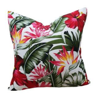 White Hibiscus Feather Inner Scatter Cushion